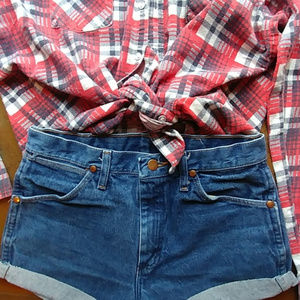 Vintage Wrangler cutoffs and XL flannel combo